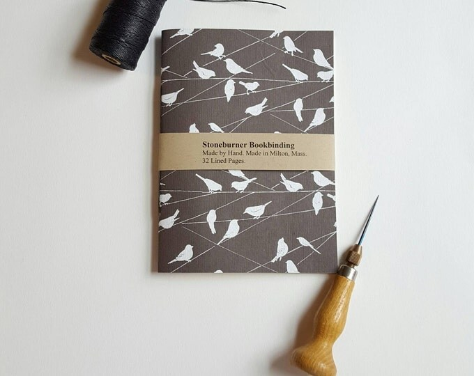 Birds on a Wire Notebook - Lokta Paper Notebook - Jotter - Black and White Birds - Daily Writing Journal