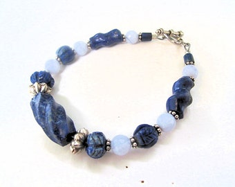 Lapis Lazuli Bracelet with Hand Cut Lapis Lazuli and Lace Agate Beads,Sterling Silver Spacers by the Old Silk Route