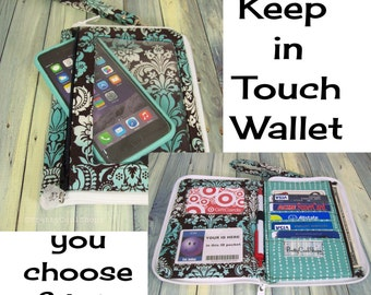 Cell Phone Purse • iPhone Wristlet • Smartphone Bag • small wristlet wallet • CUSTOM • you choose fabric • Keep in Touch Wallet • (4b)