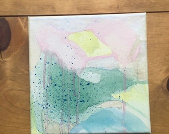"Melted Butter : Acrylic and Watercolor Painting on 8"" by 8"" Stretched Canvas (Contemporary Art)"