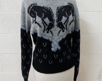 Vintage Horse Sweater 1970s Sears Style Works for teens sized Medium Horsey Horse Shoe Bronco Theme
