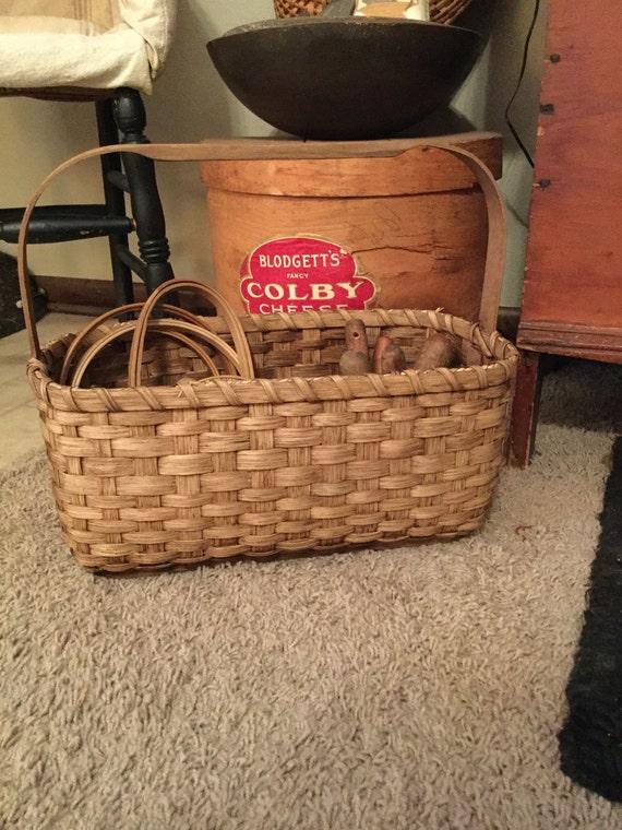 Tote Basket knitting cross stitch punchneedle rug hooking