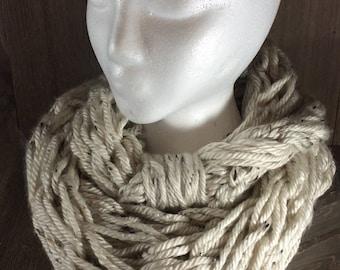 Super Bulky Arm Knit Infinity Scarf ~ Aspen Tweed