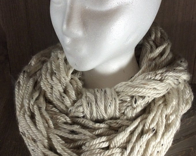 Super Bulky Arm Knit Infinity Scarf ~ Aspen Tweed