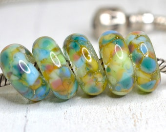 aladdin - aqua, pink, blue, lavender...big hole beads...dread beads....Euro style glass SINGLE lampwork charm, SRA handmade P122916-4