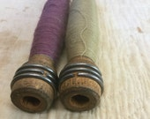 Vintage Thread Bobbins - Set of 2 - Mixed Media, Altered Art, Assemblage