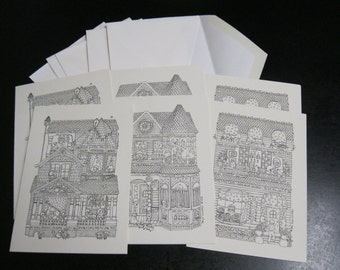Color Your Own Greeting Blank Note Card Adult Coloring Cards Set of Six With Envelopes & Each Comes With Fun Hidden Words of Encouragement
