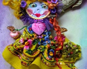Unique doll  brooch art to wear wearable art doll brooch fairy flower brooch beaded embroidered brooch