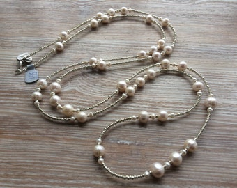 Long Ivory Freshwater Pearl necklace, UK made 55 Inch