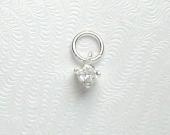 Nail Dangle Teeny Tiny CZ Square in 925 Sterling Silver about 4mm