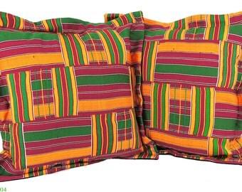 2 Kente Cloth Pillows Fuschia 16 x 16 inch African Art 91645 SALE WAS 199