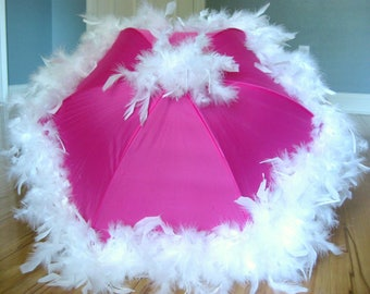 Princess Parasol- White on Hot Pink Second Line Umbrella - Festival Parasol Feather Umbrella- New Orleans any colors bridesmaids