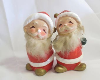 Vintage National Potteries Novelty Furry Santa Salt and Pepper Shakers