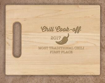 Chili Pepper Engraved Cutting Board, Walnut Cherry Maple Personalized Cutting Board