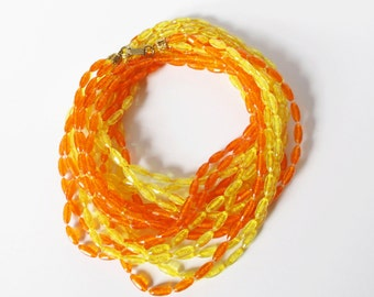 Extra Long Orange and Yellow Flapper Necklace Vintage Plastic Beads Halloween Costume Jewelry