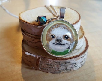 Sloth necklace,  hand painted Sloth, Sloth lover, Valentine's day gift