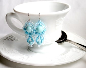 Larimar Beads Sky Blue Tatting Dangle Fiber Beaded Chandelier Style Earrings