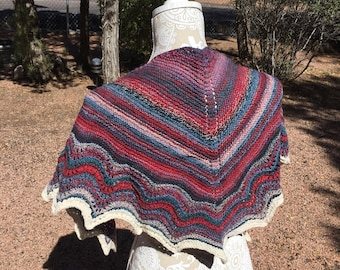 100% Wool Hand Knit Lace Shawl
