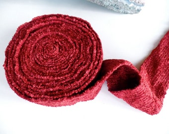 """Limited Time 50% OFF SALE: Chenille Elastic Band Belting by the Yard, 3"""" Wide Rich Deep Rust, skinny scarf, Waistband, Headband"""