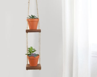 Reclaimed Wood and Jute Double Hanging Swing Shelves, Floating Shelving | Small Wooden 2 Plant Stands, Holder, Hanger, Wall Planter