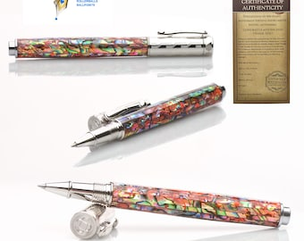 Dazzling Abalone Pen Rollerball Writing Instrument - Perfect  for Her - One of a kind gift - writes smoothly