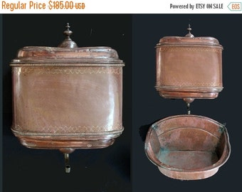 Antique Large French Copper Lavabo / Water Fountain , French copper Fountain and bassin ,1800 copper Lavabo ,antique copper Water Container