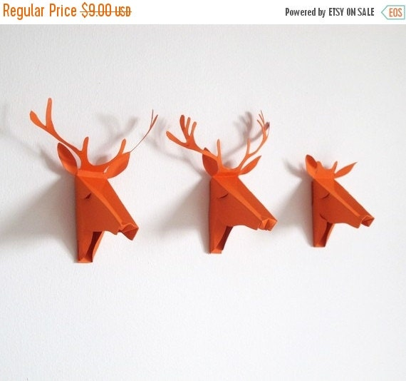 set of 3 faux Deer head, Faux Taxidermy , greeting card, orange, Deer Mini Faux Taxidermy