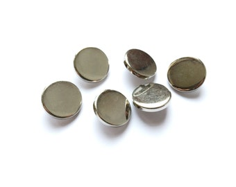 6 Metal Silver Buttons, Shank, 22mm