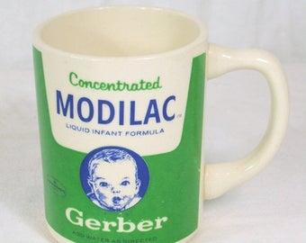 ON SALE Vintage Gerber Baby Modilac Formula Advertising Mug Coffee Cup White Green Blue Sides