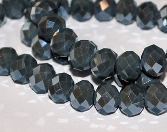 12 pcs 10x8mm Opaque Dark Grey Luster Faceted Glass Beads