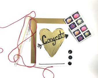 Gold Heart Congrats Card - Hand Painted