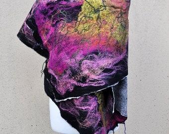 BIG SALE - Beautiful shawl, felted scarf, silk, wool, felted, gift, fiber art, black, pink, yellow