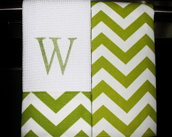 Monogrammed  Kitchen Towels or Hand Towels in Chartreuse Chevron | Housewarming Gift | Hostess Gift | Gifts for Her | Wedding