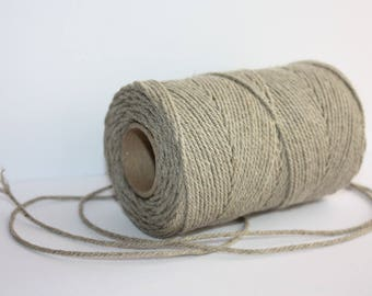 2 mm Elegant Linen Yarn - Natural Color = 1 Spool = 110 Yards = 100 Meters
