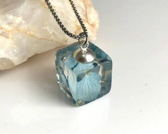 Real Blue Hydrangea Flower Necklace, resin cube pendant dried pressed flowers nature natural gift gifts for her