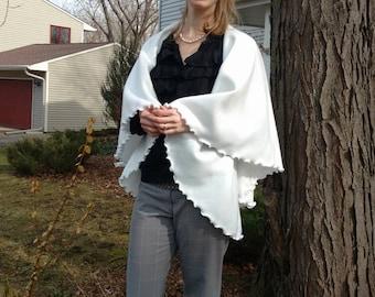 Dreamy White Fleece Circular Vest - Simply Elegant