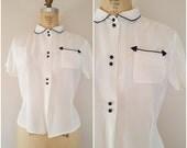 Vintage 1940s Arrow Blouse / White Rayon Blouse / Medium Large