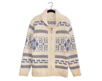 Vintage Pendleton Big Lebowski Women's Light Blue & Gray Shawl Collar Zip Up Cardigan 100% Virgin Wool Sweater, Made in USA - Medium