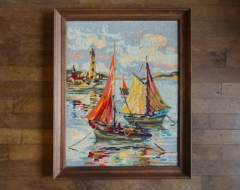 Vintage French Tapestry Cross Stitch Sailing Fishing Boats Lighthouse Reproduction Portrait Wall Hanging circa 1950-60's / English Shop