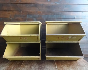 Vintage French large metal stacking industrial commercial factory storage box tray compartment SOLD INDIVIDUALLY circa 1950's / English Shop