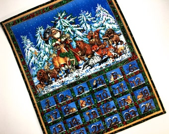 Advent Calendar  Woodland Animals St Nicholas Children Activity Panel Christmas Countdown Quilted Wall Hanging Holiday Decor Christmas Quilt