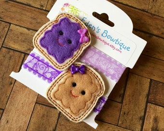 Peanut Butter & Jelly Feltie Clip or Headband Set -Twin Bows, Sister Bows, Best Friends Bows