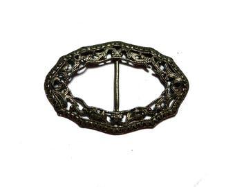 Antique Pre-Owned Silver Tone Art Nouveau Women's Belt Buckle #2365