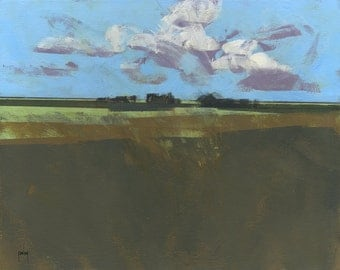 Original abstract landscape painting - Early December fields