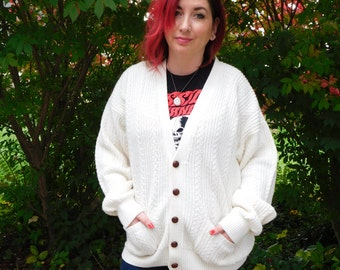 Vintage Cable Knit Fisherman Cardigan, Boyfriend Sweater, Grandpa Sweater