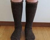 Extreme Alpaca wool socks - Super cozy warm and soft socks Size XL Dark Brown