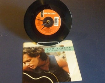 John Cougar Mellencamp Pop Singer Recycled 45 Vinyl Record Clock Art