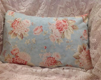 Aqua floral PILLOW COVER with sweet blush and pink ROSES and other cottage flowers