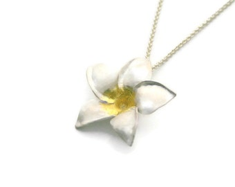 Plumeria/Frangipani Silver Pendant - Flower jewelry, forged, sterling, 22k gold, floral, delicate, bridal