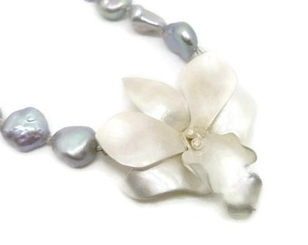 Silver Orchid and Pearl Necklace